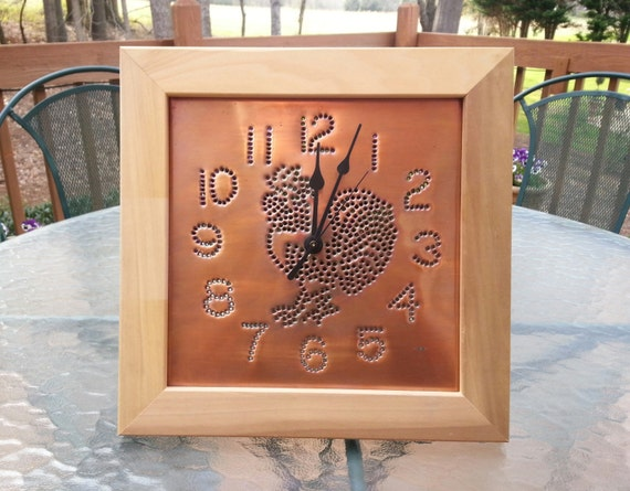 Rooster Wall Clock Rustic Copper With Custom Frame Handmade By West Tinworks