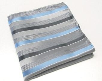 Pocket Square Silver Gray and Blue Stripes Hankie