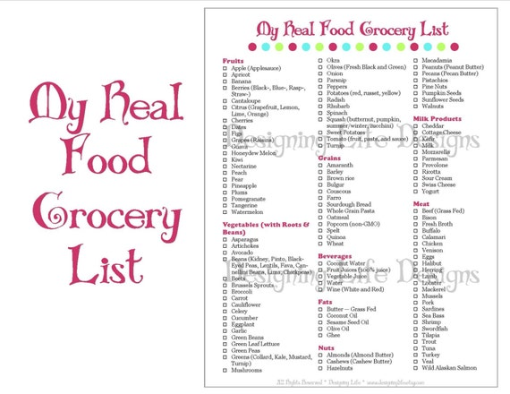 Real Food Grocery Shopping List Printable for Meal Planning