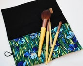 Makeup Brush Roll, Cosmetic Brush Roll in Blue Floral