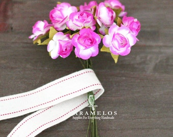 36 Miniature 2 Tone Fuchsia and White Paper Roses Flowers