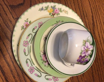 Vintage Set of Mismatched China  5 Pieces Pink and Green Tea Party- Shower -Wedding - Alice In Wonderland
