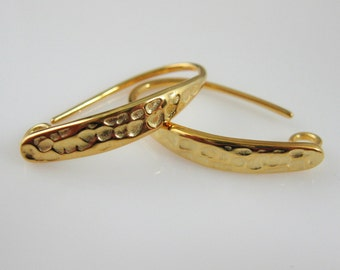 Vermeil Earring Findings-Earring Hooks,Gold plated over Sterling Silver,Vermeil Earrings-Hammered Earwires (2pcs - 1 pair) - SKU: 203022-VM