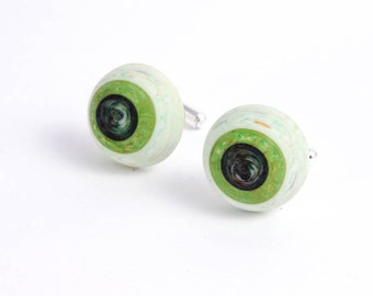 Retro Cuff Links - Green Eyeball Cuff Links - Jewelry Accessories Gifts for Him Man Dude Under 15