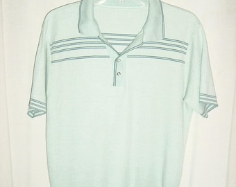 Vintage 70s Two Tone Green Stripe Acrylic Blend Knit Mens Polo Shirt L As Is bch