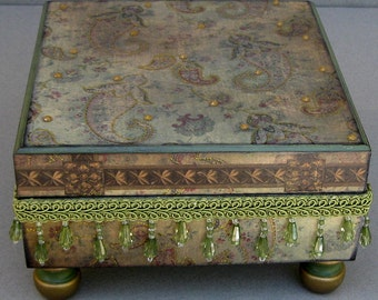 Olive Paisley Swirl Keepsake Trinket Jewelry Decorative Box