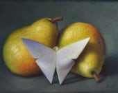 Original Oil Painting, Pears and Paper Butterfly