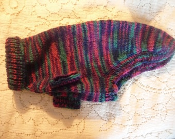 Hand Knitted Dog Sweater in Purple & Blue Ombre Size Sm 10-15 lbs.