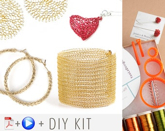 Wire crochet Starter Kit , crochet patterns , Video and PDF  tutorials , DIY jewelry instructions , gift kit