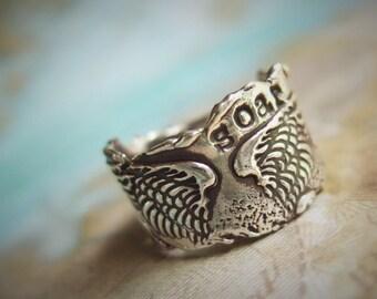 Chunky Ring, Rustic Ring, Rustic Chunky Ring, Boho Chic Jewelry Boho Ring, Sterling Silver Boho Chic Ring, Chunky Sterling Silver Boho Ring