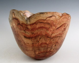 Artistic Natural Bark Edge Maple Burl Wood Turned Bowl - Men or Women - Home Decor - Kitchen and Gourmet - Sculptures - Wedding Gift