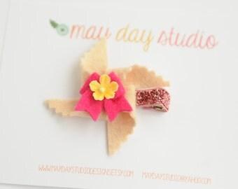 baby toddler girls felt pinwheel alligator hair clip - light pink pinwheel with hot pink bow barrette - pink glitter clip
