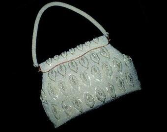 Vintage 60s White Beaded Purse Handbag