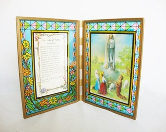 vintage religious novena prayer framed stained glass floral style