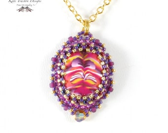 Maui Sunset Necklace, Pendant, Polymer Clay, Bead Embroidery