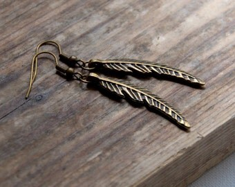 Bronze feather long dangle earrings Antique Bronze Charm Jewellery gift for her women girl Birthday jewelry
