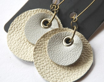 Recycled Leather Circle Earrings by Mainichi