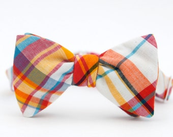 hot pink & yellow madras freestyle bow tie