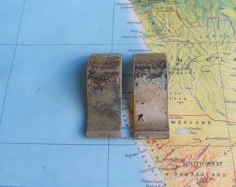 SALE! 2 small mid century distressed silvertone metal handles
