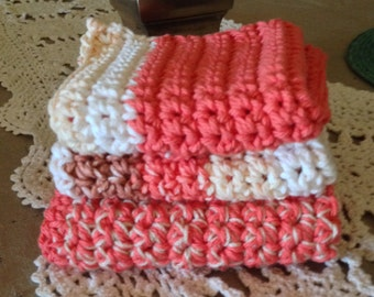 Cotton Crochet Spa Cloths  Three Cloths