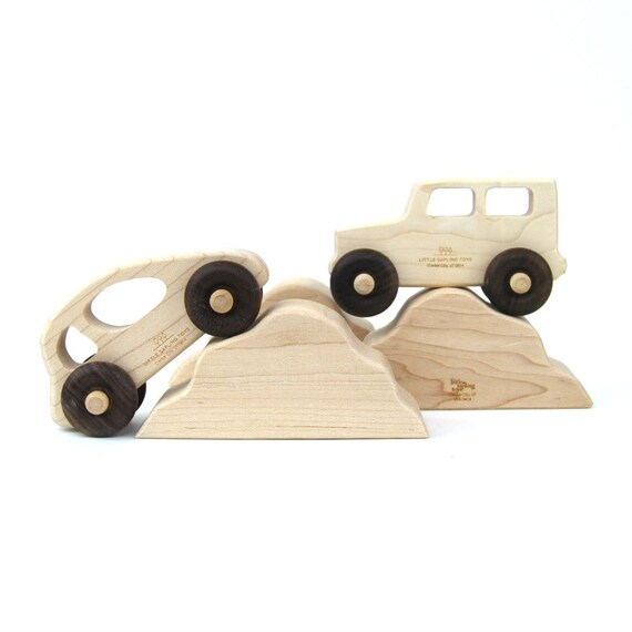 Car and Truck with Hills Toy - Handmade Wooden Toys - Wood Car - Wood Truck - Toddler Gifts - Imaginative Play - Automobiles - Hills -TY29