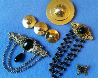 Vintage Brooch Pin Lot - black goldtone silvertone