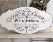 FRENCH Signs | VIEUX CARRE | Wine Signs | French Kitchen Signs | New Orleans | 12 x 24