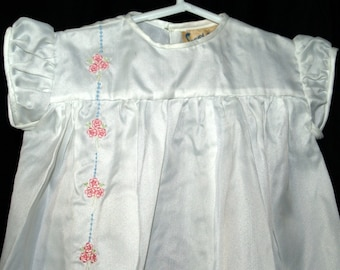 Toddler or Baby Girls dress white nylon-type vintage 1950s by Sunny Charm