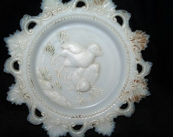 Antique Opaque Milk Glass Baby Chicks Plate Victorian