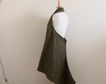 olive linen chic low cut halter dress  ready to wear