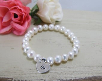 Freshwater Pearl Baby Bracelet With Personalized Initial, Stretchy Pearl Bracelet , Personalized Initial Baby Bracelet, Photo Prop Jewelry