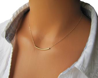 Curved Gold Tube Necklace, Balance Bar, Gold Bar