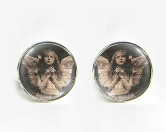Angel Girl small post stud earrings Stainless steel hypoallergenic 12mm Gifts for her