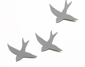 Ceramic wall art Wall hanging sculpture three swallows Gray birds Concrete grey Soft pale mid grey Kitchen art decor bathroom living room
