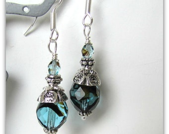 Teal / Black Earrings,  Beaded Earrings, Dangle Earrings,  Bridesmaid Earrings. Tibetan Silver bead caps,  Surgical Steel Wires #1908