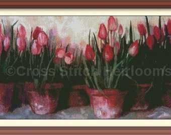 Potted Tulips Cross Stitch Pattern
