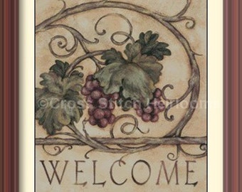 Grapes Welcome Cross Stitch Pattern
