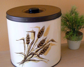 Vintage Metal Canister or Cookie Jar with Lid in Wheat Pattern