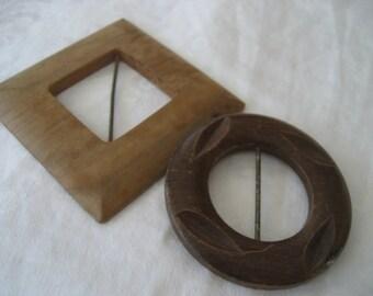 2 VINTAGE Wood Belt Buckles