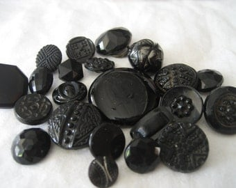 Lot of 22 VINTAGE Black Glass BUTTONS