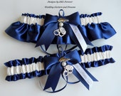 Police Wedding Garters Handmade Navy Blue and Ivory Garters
