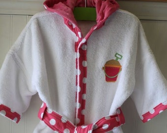 Child-Robes-Girls-Girl-Bath-Robe-Pink-Polka-Dots-Pail-Shovel-Swimwear-Sleepwear-Childrens-Spa-Beach-Towels-Hooded-Swim-Suit-Terry-Cover Up