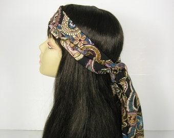 Paisley Print Head Scarf Retro Hippie Head Scarf Western Head Scarf Bohemian Hair Wrap 70's Paisley Neck Scarf Skinny Scarves Womens Scarves