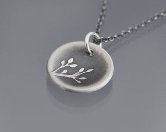 Small Cupped Oxidized Branch Necklace - Sterling Silver Pendant - nature jewelry