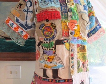Vintage BOY Girl SCOUTS AMERICA Shirt - Wearable Fabric Collage Clothing - Folk Art Folklore Storybook - Altered  Linens & Lace  - mybonny