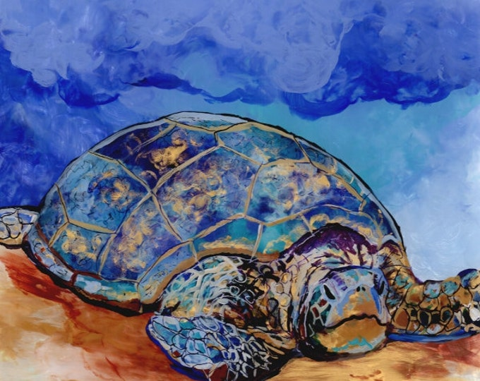 Honu at Poipu Beach  2 Original Sea Turtle Reverse Acrylic Painting by Marionette from Kauai Hawaii