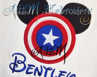 Personalized Captain America Mousehead Shirt