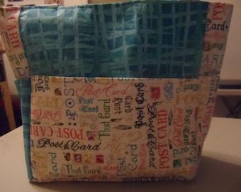 postcard blue bag/purse/ diaper bag