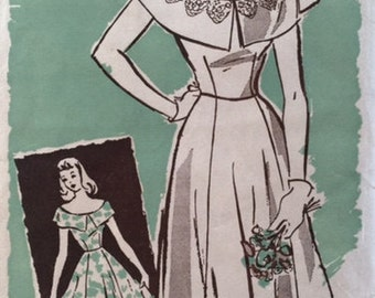 Vintage 40s Fitted Bateau Neckline Capelet Dress Ball Gown Sewing Pattern 9245 XXS B29