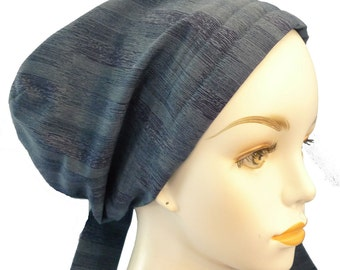 Classic Blue Chemo Scarf Cancer Turban Hat 100% Cotton  Head Wrap Covering Great with Jeans!